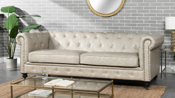 "Winston 91"" Tufted Chesterfield Sofa, Dove Gray"
