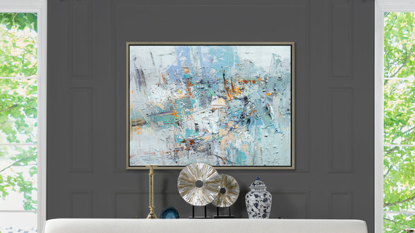 Escape 2 50x38 Abstract One-of-a-Kind Original Art Oil Painting with Frame