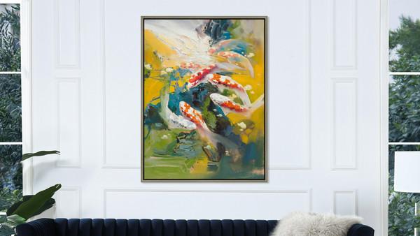 Koi 2 50x38 Framed Abstract Koi Fish Giclee Art Print