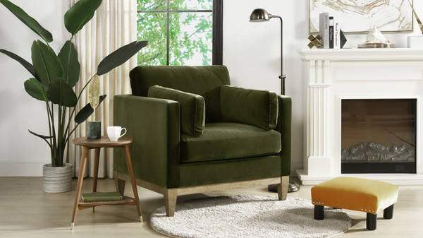 "Knox 36"" Modern Farmhouse Arm Chair, Olive Green"