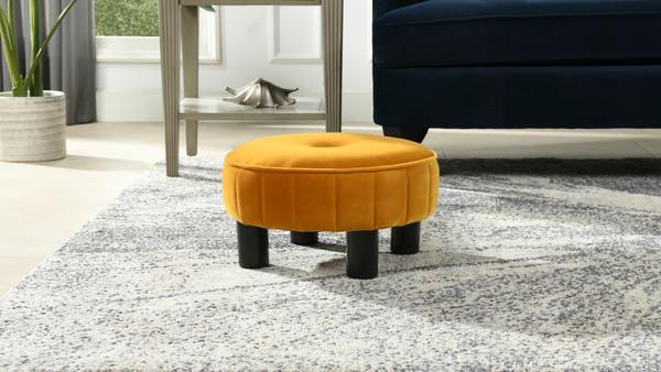 "Riley 16"" Round Footstool Ottoman, Rich Yellow"