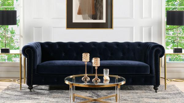 "Winston 91"" Tufted Chesterfield Sofa, Dark Navy Blue"