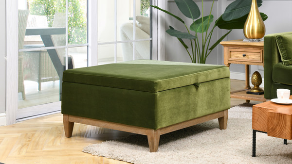 """Knox 35"""" Square Storage Cocktail Ottoman, Olive Green"""