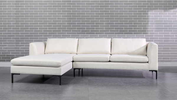 """Weylyn 102"""" LAF Chaise Sectional Sofa, Alabaster Off White"""