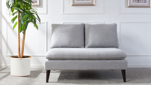 Vera Upholstered Settee, Light Grey