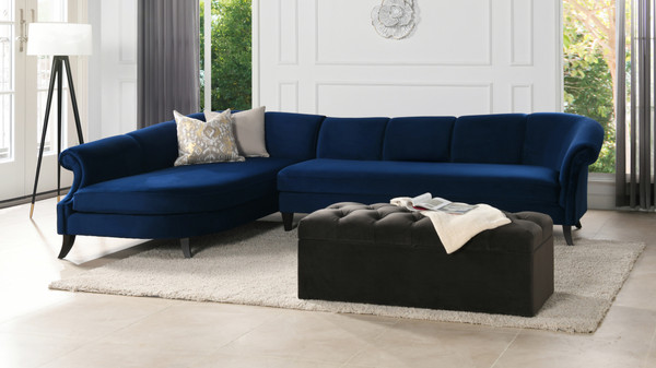 Victoria Upholstered Left Sectional Sofa, Navy Blue