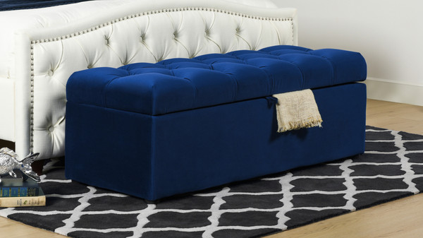 Arlo Tufted Storage Bench, Navy Blue