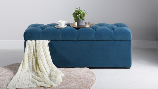 Arlo Tufted Flip Top Storage Bench, Satin Teal