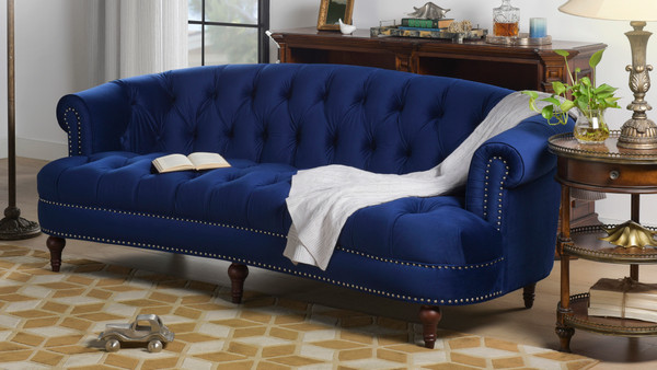 La Rosa Chesterfield Sofa, Navy Blue