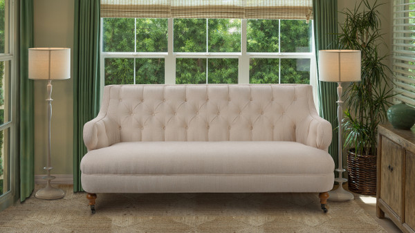 Milano Tufted Accent Sofa, Crème Brulee