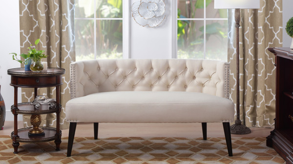 Celine Tufted Settee, Sky Neutral