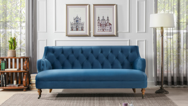 Milano Tufted Accent Sofa, Satin Teal