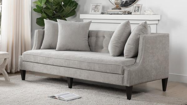 Caroline Recessed Tuxedo Sofa, Silver Grey