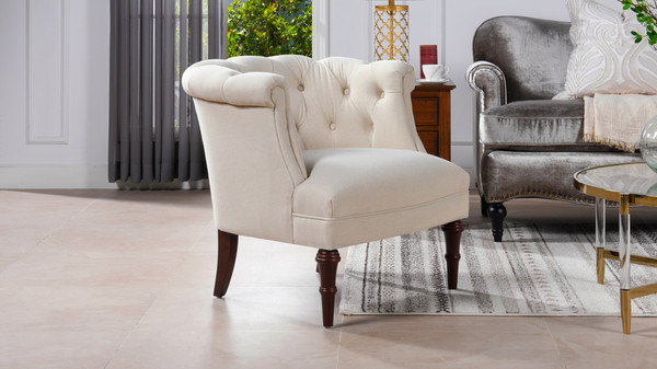 Katherine Tufted Accent Chair, Sky Neutral
