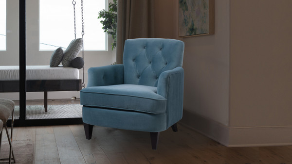 Kelly Tufted Accent Chair, Arctic Blue