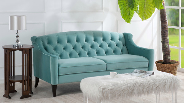 Ken Upholstered Button Tufted Sofa, Arctic Blue
