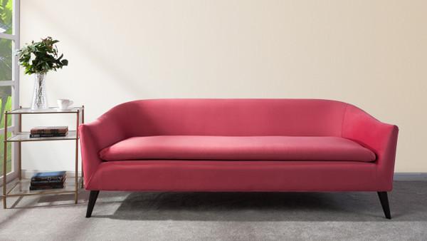 Lia Mid-Century Modern Sofa, Garnet Rose