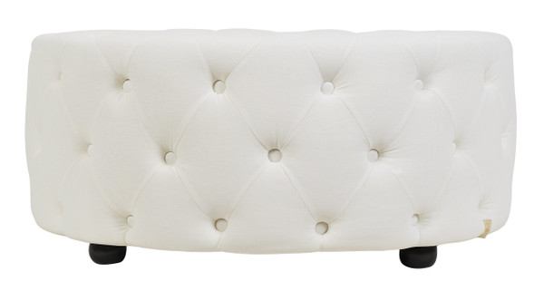 Savannah Round Cocktail Ottoman, Antique White