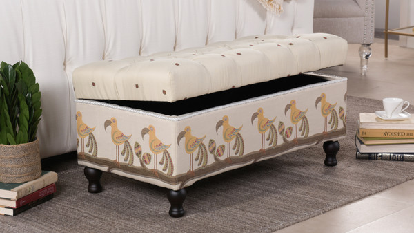 Naomi Storage Entryway Bench, Ivory & Brown