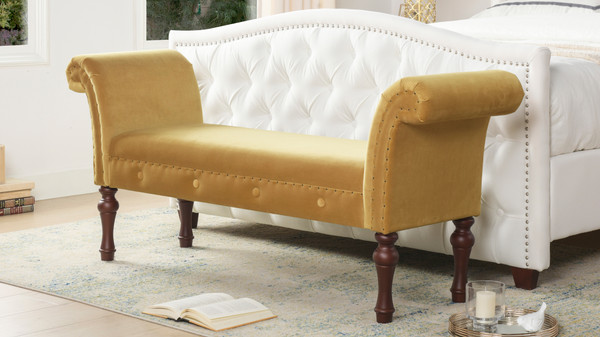 Elise Roll Arm Entryway Bench, Gold