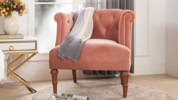 Katherine Tufted Accent Chair, Peach Orange