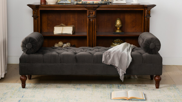 Lewis Bolstered Lounge Entryway Bench, Dark Charcoal Grey
