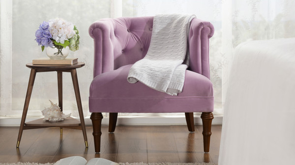 Katherine Tufted Accent Chair, Lavender