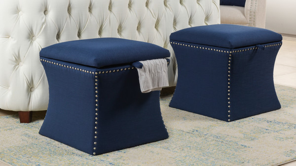Holly Storage Ottoman, Midnight Blue