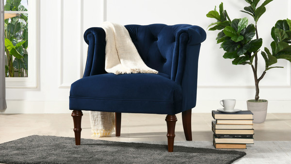 Katherine Tufted Accent Chair, Navy Blue