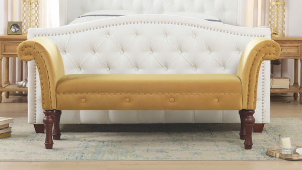 Elise Roll Arm Entryway Bench, Shimmer Gold