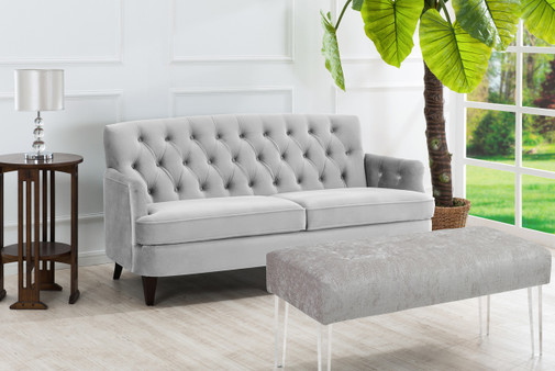 Kelly Hand Tufted Sofa, Opal Grey