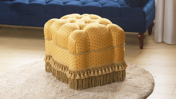 Nancy Traditional Vanity Stool, Amber Gold & Rawhide
