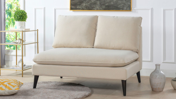 Vera Upholstered Settee, Sky Neutral