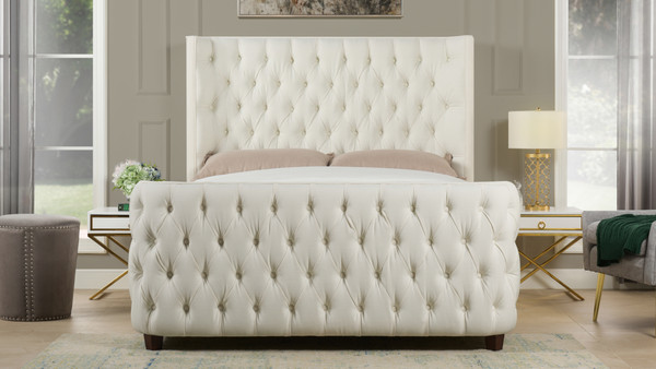 Brooklyn Tufted Bed, Queen, Antique White
