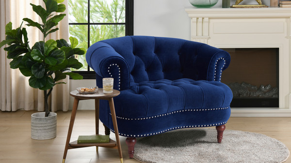 La  Rosa Tufted Accent Chair, Navy Blue