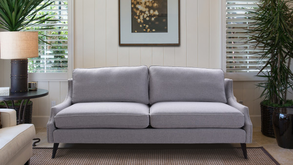 Ariana Upholstered Sofa, Light Grey