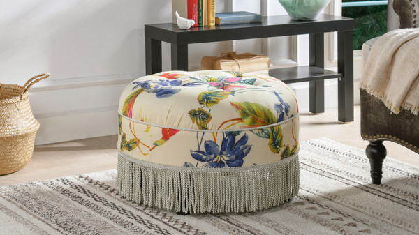 Yolanda Decorative Round Ottoman, Printed, Purple & Beige