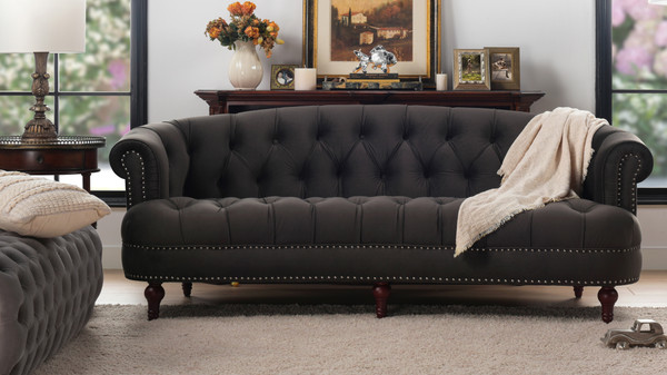 La Rosa Chesterfield Sofa, Dark Charcoal Grey