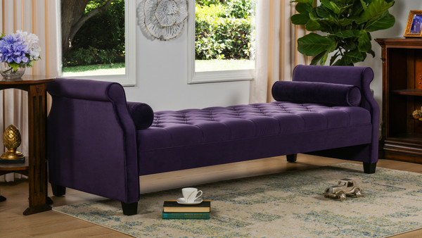 Eliza Upholstered Sofa Bed, Purple