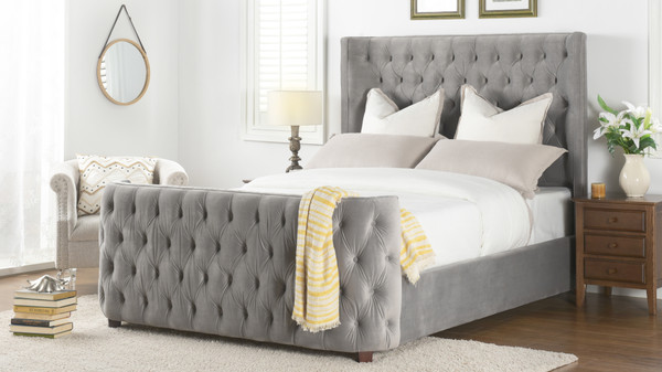 Brooklyn Tufted Bed, King, Opal Grey