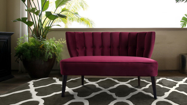 Becca Tufted Channel Back Settee, Burgundy