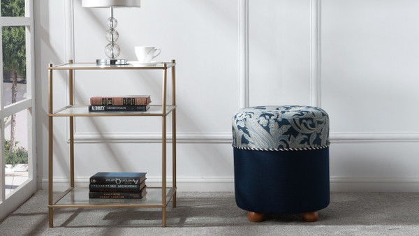 Mona Traditional Ottoman, Dusty Blue & Midnight Blue