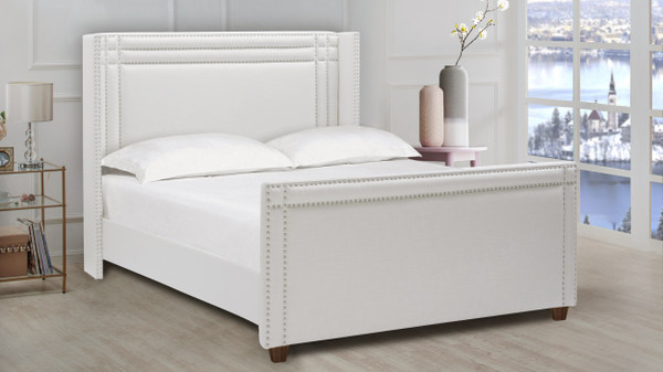Elle Wingback Upholstered Bed, Queen, Antique White