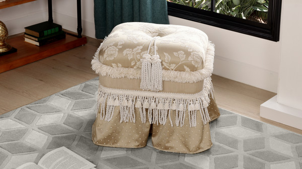 Cassandra Traditional Decorative Ottoman, Jacquard, Neutral