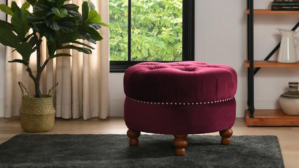La Rosa Tufted Round Ottoman, Burgundy