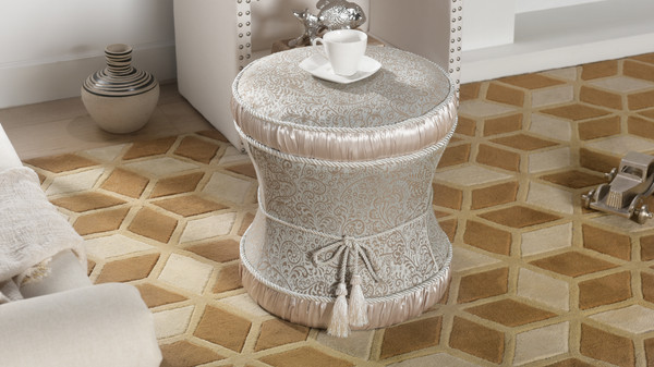 Leona Decorative Vanity Stool, Jacquard, Teal Tan