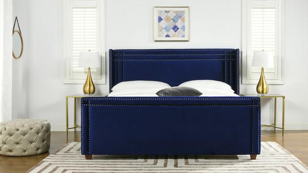 Elle Wingback Upholstered Bed, King, Navy Blue