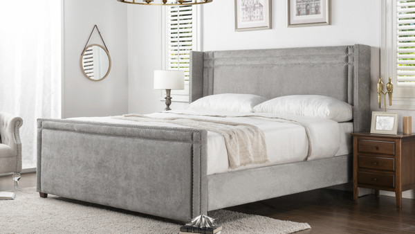 Elle Wingback Upholstered Bed, King, Silver Grey