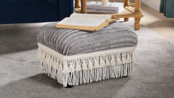 Fiona Traditional Decorative Footstool, Grey