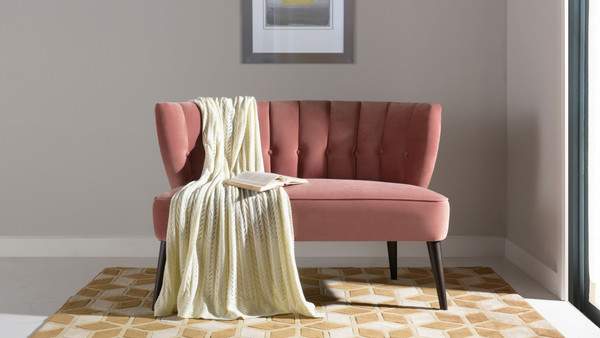 Becca Tufted Channel Back Settee, Ash Rose